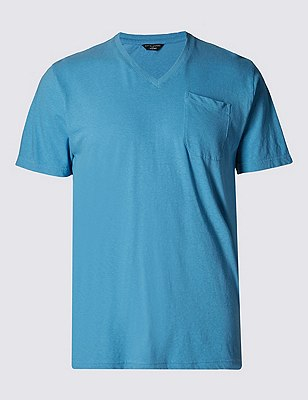 Cotton Rich Tailored Fit T-Shirt with Linen, BLUE, catlanding