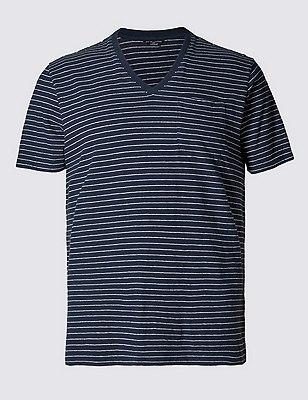 Camiseta de algodón con diseño de rayas y con lino, AZULÓN, catlanding
