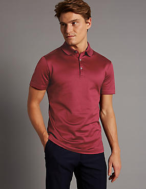 Pure Cotton Textured Polo Shirt, RED, catlanding