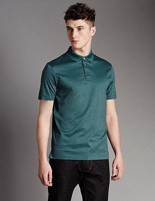 Supima® Cotton Tailored Fit Piqué Polo Shirt, DARK PETROL, catlanding