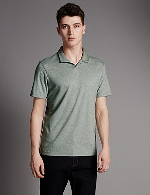 Supima® Cotton Trophy Neck Slim Fit Polo Shirt, GREEN MARL, catlanding