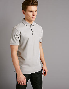 Pure Cotton Textured Polo Shirt, MIST, catlanding