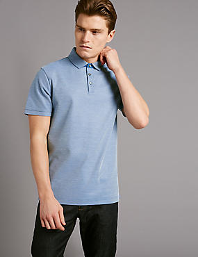 Pure Cotton Textured Polo Shirt, BLUE, catlanding