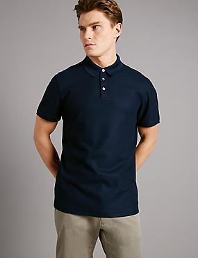 Pure Cotton Textured Polo Shirt, NAVY, catlanding