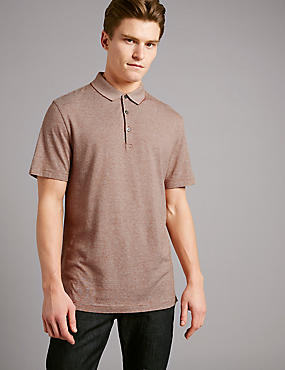 Cotton Rich Textured Polo Shirt, RUST, catlanding