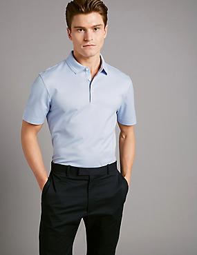 Pure Cotton Textured Polo Shirt, PALE BLUE, catlanding