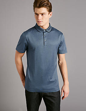 Pure Cotton Textured Polo Shirt, INDIGO, catlanding