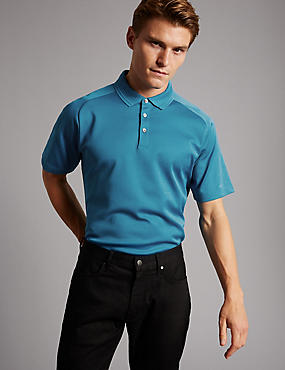 Pure Cotton Textured Polo Shirt, TEAL, catlanding