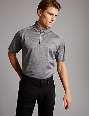 Pure Cotton Textured Polo Shirt, GREY, catlanding