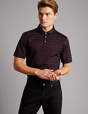 Pure Cotton Striped Polo Shirt, BLACKCURRANT, catlanding