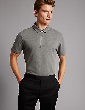 Slim Fit Pure Cotton Textured Polo Shirt, GREY, catlanding
