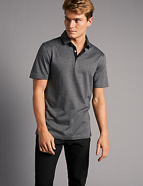 Slim Fit Pure Cotton Textured Polo Shirt, GREY, catlanding