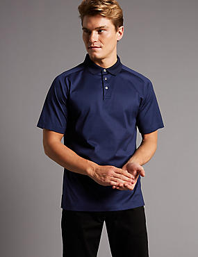 Slim Fit Pure Cotton Textured Polo Shirt, MEDIUM NAVY, catlanding