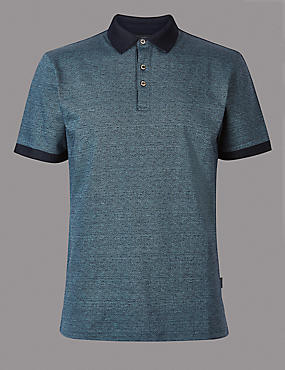 Slim Fit Pure Cotton Textured Polo Shirt, DENIM, catlanding