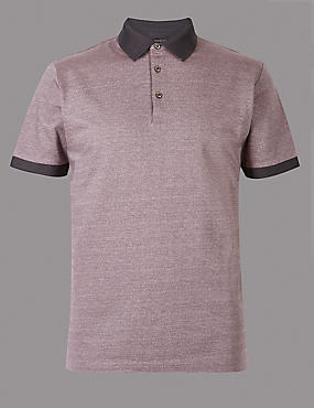 Pure Cotton Textured Polo Shirt, PINK, catlanding