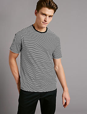 Pure Cotton Striped Crew Neck T-Shirt, NAVY MIX, catlanding