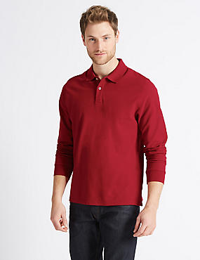 Pure Cotton Long Sleeve Polo Shirt, RUBY RED, catlanding
