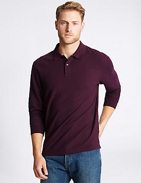 Pure Cotton Long Sleeve Polo Shirt, PURPLE, catlanding