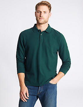 Pure Cotton Long Sleeve Polo Shirt, DARK EVERGREEN, catlanding