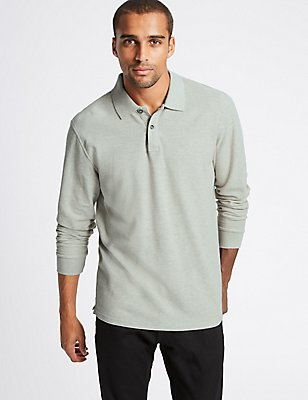 Pure Cotton Textured Polo Shirt, STONE MIX, catlanding