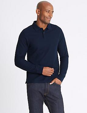 Slim Fit Pure Cotton Long Sleeve Polo Shirt, NAVY, catlanding