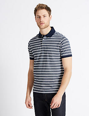 Slim Fit Pure Cotton Striped Polo Shirt, NAVY, catlanding