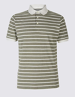 Slim Fit Pure Cotton Striped Polo Shirt, ECRU MIX, catlanding