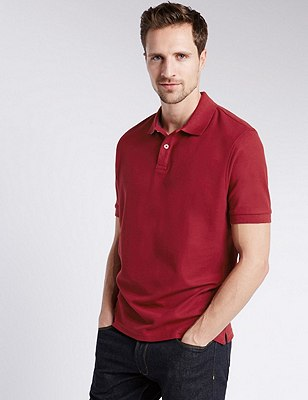 Regular Fit Pure Cotton Polo Shirt with StayNEW™, RED, catlanding