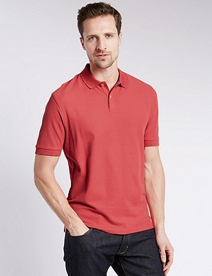 Regular Fit Pure Cotton Polo Shirt with StayNEW™, CORAL, catlanding