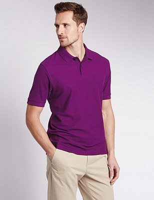 Pure Cotton Polo Shirt with StayNEW™, PURPLE, catlanding