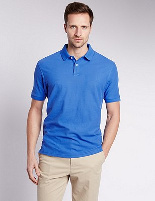 Pure Cotton Polo Shirt with StayNEW™, BRIGHT BLUE, catlanding