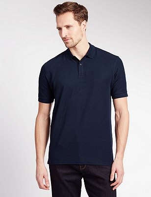 Pure Cotton Polo Shirt with StayNEW™, NAVY, catlanding