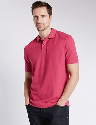 Regular Fit Pure Cotton Polo Shirt with StayNEW™, FUCHSIA, catlanding
