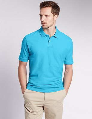 Pure Cotton Polo Shirt with StayNEW™, TURQUOISE, catlanding
