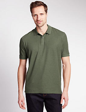 Pure Cotton Polo Shirt, KHAKI MIX, catlanding