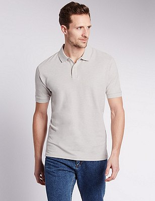 Regular Fit Pure Cotton Polo Shirt with StayNEW™, ECRU MIX, catlanding