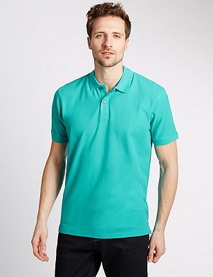 Regular Fit Pure Cotton Polo Shirt with StayNEW™, JADE, catlanding