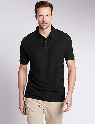 Pure Cotton Polo Shirt with StayNEW™, BLACK, catlanding
