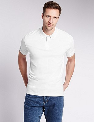 Pure Cotton Polo Shirt with StayNEW™, WHITE, catlanding