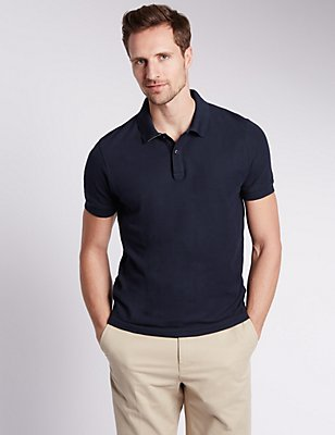 Slim Fit Pure Cotton Polo Shirt, NAVY, catlanding