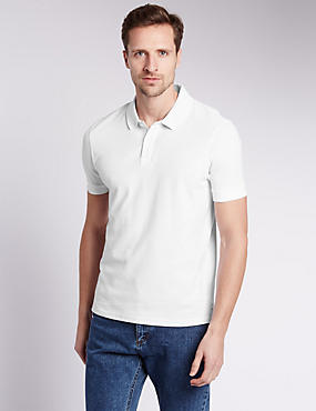 Slim Fit Pure Cotton Polo Shirt, WHITE, catlanding