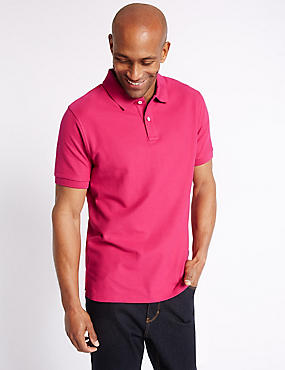 Pure Cotton Polo Shirt, BRIGHT PINK, catlanding