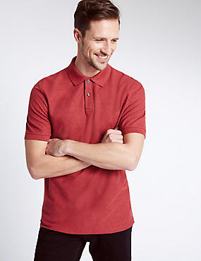 Pure Cotton Polo Shirt, RED MIX, catlanding