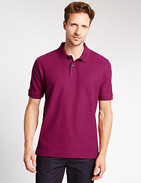 Regular Fit Pure Cotton Polo Shirt with StayNEW™, RASPBERRY, catlanding
