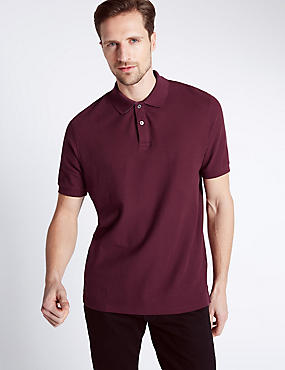 Regular Fit Pure Cotton Polo Shirt with StayNEW™, WINE, catlanding