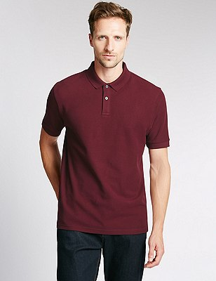 Regular Fit Pure Cotton Polo Shirt with StayNEW™, DARK WINE, catlanding
