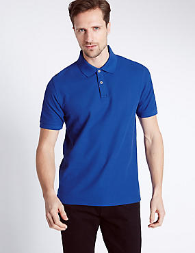 Pure Cotton Polo Shirt, COBALT, catlanding
