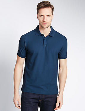 Regular Fit Pure Cotton Polo Shirt with StayNEW™, DARK DENIM, catlanding