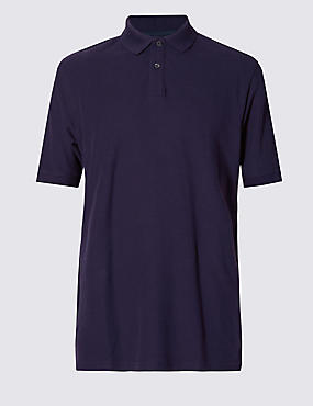 Regular Fit Pure Cotton Polo Shirt with StayNEW™, DARK PURPLE, catlanding