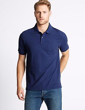 Pure Cotton Polo Shirt, BRIGHT BLUE MIX, catlanding